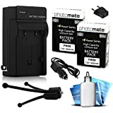 (2 Pack) PhotoMate NP-FW50 FW50 Ultra High Capacity Rechargable Battery (1500mAh) + Rapid Home AC Wall Charger...