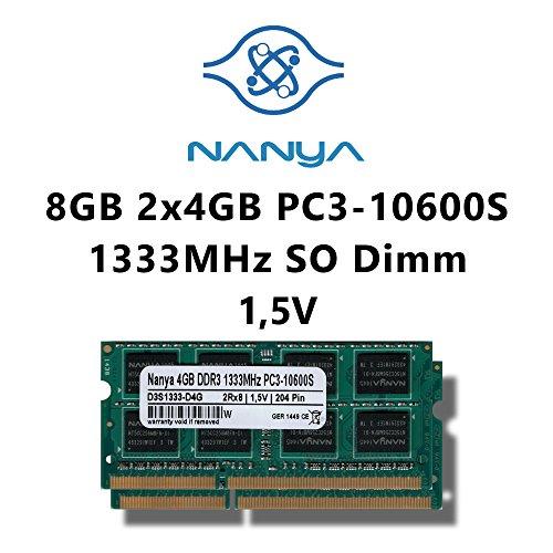 Nanya 8GB (2x 4GB) Dual-Channel Kit DDR3 1333MHz (PC3 10600S) SO Dimm Notebook Laptop Arbeitsspeicher RAM Memory