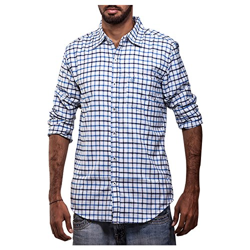Polo Urban Polo Club Checked Blue Linen Shirt - Full Sleeve (White)