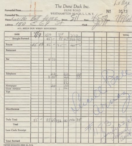 LUCILLE BALL (I Love Lucy) signed hotel receipt from 1961 (Hotel Receipts compare prices)