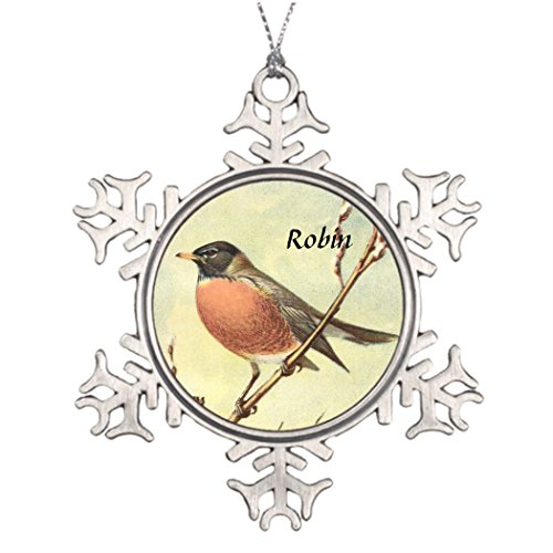 zarral 80 Personalised Christmas Tree Decoration Vintage Robin Pictures Of Snowflake Ornaments