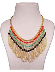 Elegant Red Blue Black Golden Chain Light Weight Modern Necklace For Girls And Women By FreshVibes