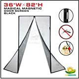 """Windscreen4less Magnetic Screen Door - 36"""" X 82"""", Heavy Duty, Walk Through Curtain Hands Free, Let Fresh Air and Pets In, Keep Bugs Out, Black"""