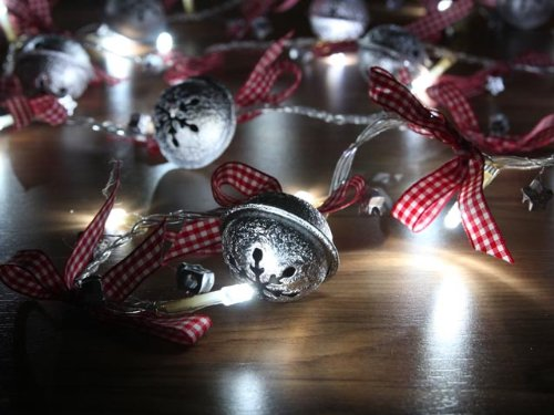 Battery Operated Cool White Led String Lights With Round Bell, Christmas Lights, Party Lights (Free Shipping)