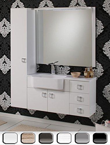 Mobile Arredo Bagno Florida 100+30cm sospeso moderno in bianco viola grigio tavolato con specchiera Mobili