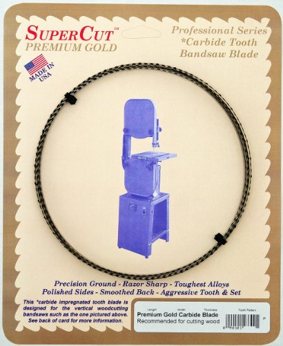 SuperCut 21700 80-Inch by 1/2-Inch by 0.025 by 3 T.P.I. Premium Gold Carbide Bandsaw Blade Recommended for Cutting Wood