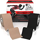 "Kinesiology Tape (2-Pack) PrimeTape - Pro Sports & Athletic Taping for Knee, Shin Splints, Shoulder and Muscle - 2"" X 16.4' per Roll Uncut - Orthopedic Therapy Method - by Nordic Lifting™"