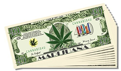 Marijuana 420 Novelty Dollar Bill - 10 Count with Bonus Clear Protector and Christopher Columbus Bill
