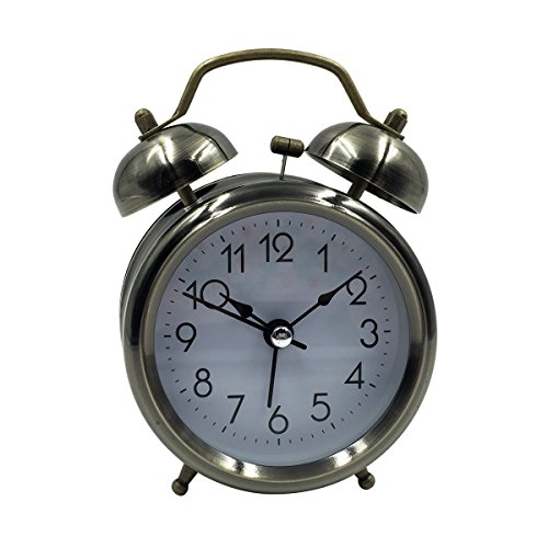[High Quality]Hippih 3 Inch Quiet Clock Alarm Clock Loud Twin Bell Silent Quartz Analog Retro Vintage Bedside with Nightlight for Kids(Simple Bronze)
