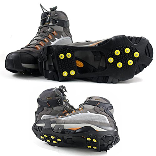 Kalevel® Traction Cleats for Snow and Ice Snow Traction Cleats Ice Traction Cleats Snow Cleats for Shoes Studded Anti Slip Ice Spikes for Shoes Ice Cleats for Shoes and Boots Ice Shoes Grippers Crampons for Hiking Boots Ice Cleats for Women Men Kids (L , Black)