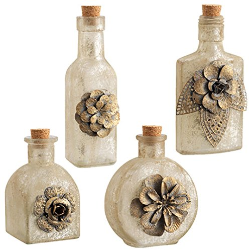 RAZ Imports Set of 4 Assorted Floral Antique Style Bottles with Gold Colored Fleck Finish