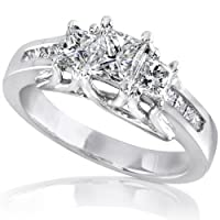 1.00ct TW Three-Stone Princess Diamond Engagement Ring in 14Kt Gold (HI/I1-I2) - Size 5