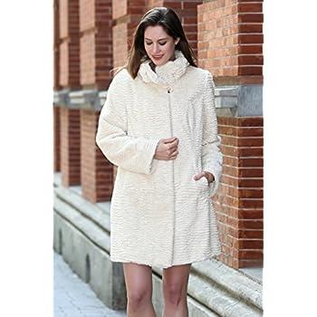 Adelaqueen Women's Winter Style Luxurious Persian Lamb Fabulous Faux Fur Coat