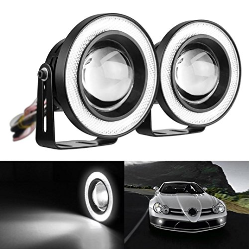 Ecosin Fashion 2.5 Car Fog Light COB LED Projector White Angel Eye Halo Ring DRL Driving Bulbs (Angel Eyes Fog Lights compare prices)