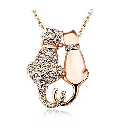 Yparah-Collana Duo, motivo: gatti, colore: oro, con cristalli di Swarovski, donna