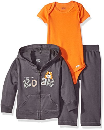 Gerber Boys' ' 3 Piece Hooded Jacket Bodysuit and Pant Set, Tiger, New Born