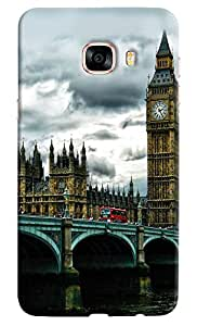 Omnam London Bridge With Clock Tower Printed Designer Back Cover Case For Samsung Galaxy C7