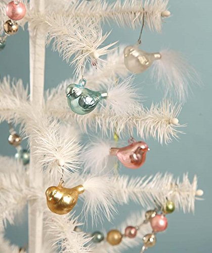 Bethany Lowe Chubby Glass Bird Ornament Set of 4