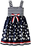 Youngland Girls 2-6X Sleeveless Knit To Woven Nautical Sundress, Navy/White, 4