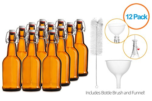 Chef's Star CASE OF 12 - 16 oz. EASY CAP Beer Bottles with Funnel and Cleaning Brush - AMBER (Chef Bottles With Caps compare prices)