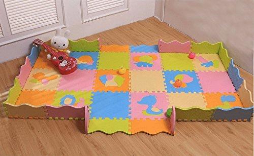 Bigood 18tlg. Spielmatte Kinderteppich Puzzlematte Spielteppich Schaumstoffmatte Farbig LattenzaunTeppich Tier A