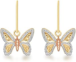 Carissima Gold 9 ct Three Colour Gold Butterfly Drop Earrings