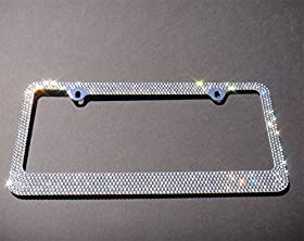Popular Bling 7 Rows White/Clear (A Type Screw Cap) Crystal Rhinestone-Metal Chrome License Plate Frame