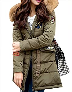 YUWa Women's Classic Luxury Winter Outwear Rocoon Fur Trim Hooded Long Thicken Puffer Down Parka Army L
