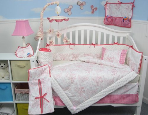 French Red Pink Toile Baby Crib Nursery Bedding SET 10pcs