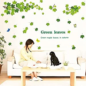 Qianxing removable cycle-usable flower and tree theme wallpaper wall sticker leisure style beautiful scenery Wall Decal for house home living room mural Decoration(green leaves)(170*110) by Qianxing
