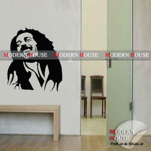 Modern House Bob Marley portrait removable Vinyl Mural Art Wall Sticker Decal