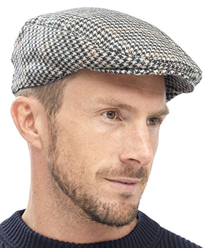 Tom Franks Mens Checked Wool Mix Tweed Flat Cap Grey Green Brown L/XL
