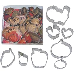 "R & M International 8 Piece set of Fall/Harvest/Thanksgiving Cookie Cutters 4"" - 1.75"""