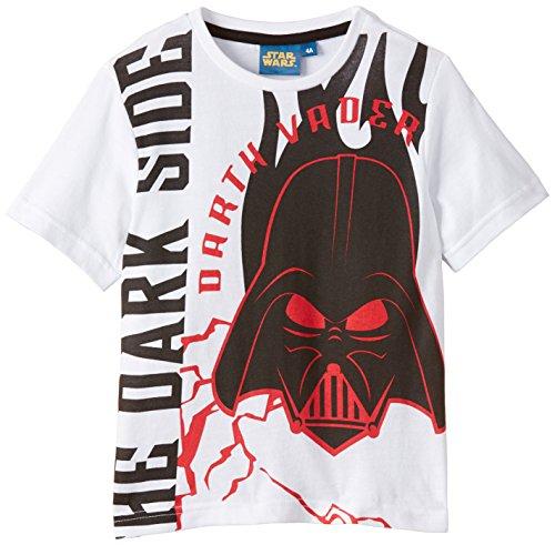 Disney Jungen T-Shirt Star Wars, Gr. 128 (Herstellergröße:8Y), Weiß (White)