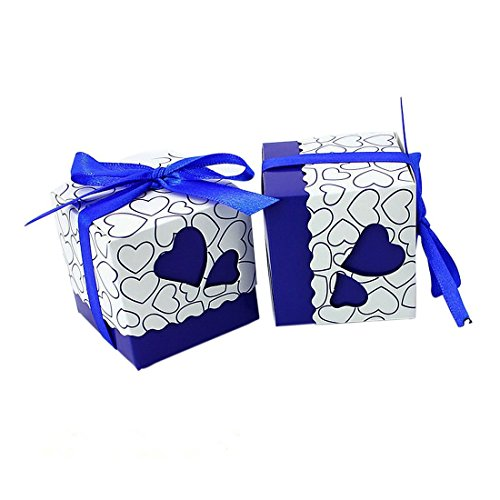 Candy Box, Yamix 50Pcs European Style Love Heart Pattern Favor Candy Box Gift Box with Ribbon DIY Wedding Party Baby Shower - Dark Blue