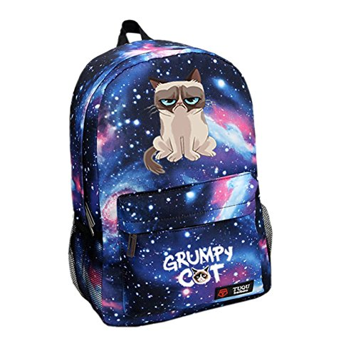 Grumpy Cat Backpack Fashion School Backpack Star Sky Blue (Grumpy Cat Party Supplies compare prices)