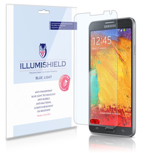 Illumishield - Samsung Galaxy Note 3 Iii (Hd) Blue Light Uv Filter Screen Protector Premium High Definition Clear Film / Reduces Eye Fatigue And Eye Strain - Anti- Fingerprint / Anti-Bubble / Anti-Bacterial Shield - Comes With Free Lifetime Replacement Wa