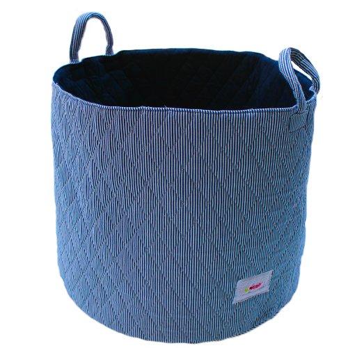 Minene UK Ltd Storage Basket with Stripes (Large, White/ Navy)