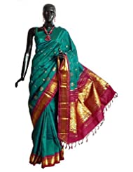 Midnight Green Kanchipuram Silk Saree with All-Over Zari Boota and One Sided Zari Border with Maroon Pallu from...
