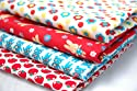 Funky Cream Red Blue Kids Childrens Fun Fabric 4 Fat Quarter Fabric Bundle by Lecien - 100% Cotton Teddies Floral Bunnies Tomatoes Fabric