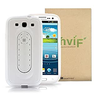 GreatShield Snap Stand Series Slim Fit Hybrid Case with Kickstand for Samsung Galaxy S3 S III (White)