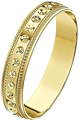 Theia 9ct Gold Heavy Weight - Circle Design, Matt Center with Millgrain Edge D-Shape Wedding Ring for Men or Women