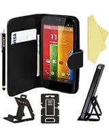 BAAS® Motorola Moto G - Noir Etui Coque en Cuir Portefeuille Housse + Stylet Pour Ecran Tactile Capacitif