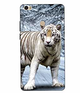 Make My Print White Tiger Printed Blue Hard Back Cover For Xiaomi Redmi MI MAX