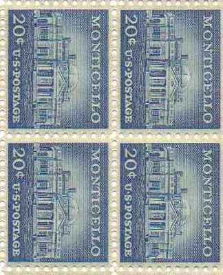 Monticello Set of 4 x 20 Cent US Postage Stamps NEW