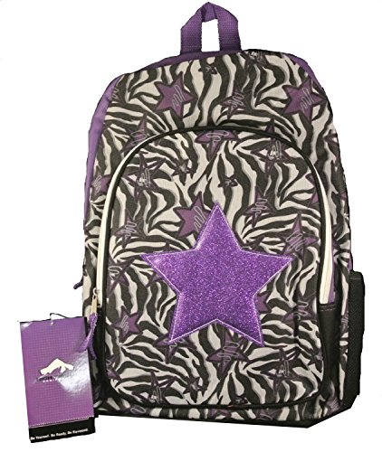 High Trails Zebra Purple Star Black Multi-color School Bag Backpack Bookbag - 1