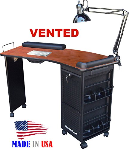 M601 Vented Manicure Nail Table Lockable Cherry Laminated Top Made in USA by Dina Meri (Dina Meri Manicure Vented Table compare prices)