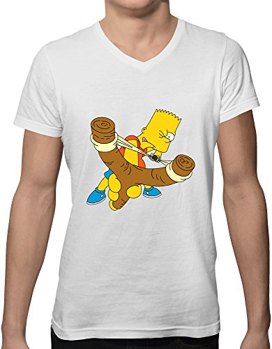 bart simpson logo new short sleeve v neck men's t shirt