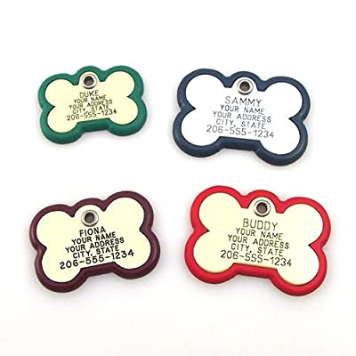 Plastic Frame Tag - Bone Shape Pet ID Tag. Our custom engraved dog tags are rugged and modern. Available in 3 sizes and many colors.