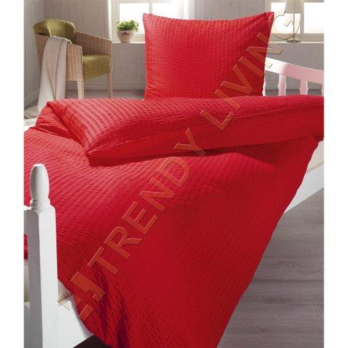 Rote Seersucker Mikrofaser Bettwäsche mit Reißverschluss | 135x200 | Bettgarnitur rot